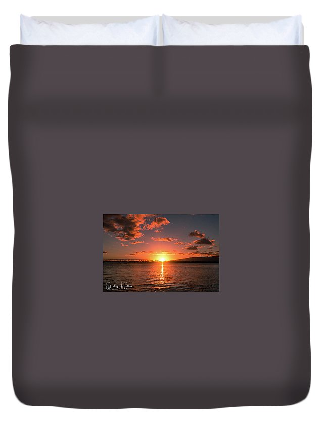 Duvet Cover featuring the photograph Hickam Sunset by Brittney Robles