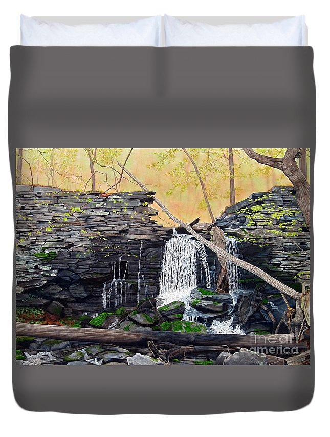 Waterfall Duvet Cover featuring the painting Hidden Sanctuary by Heidi Parmelee-Pratt