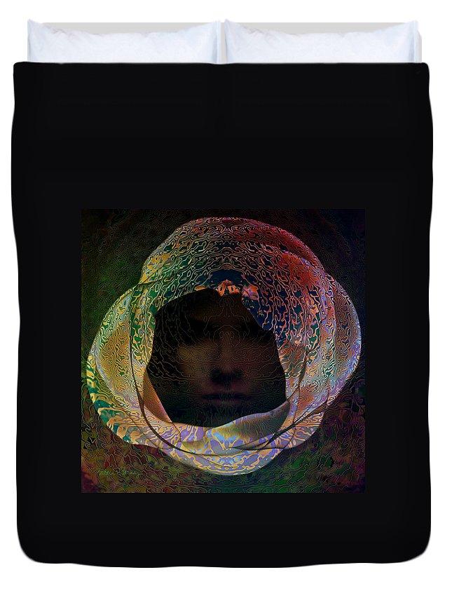 Face Duvet Cover featuring the digital art Hidden by Barbara Berney