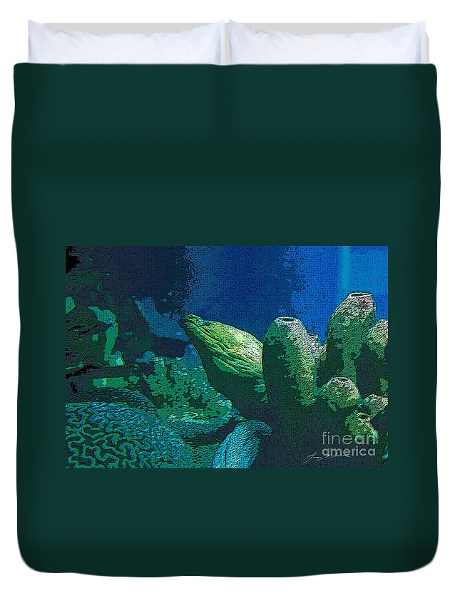 Eel Duvet Cover featuring the digital art Hidden Eel by Tommy Anderson