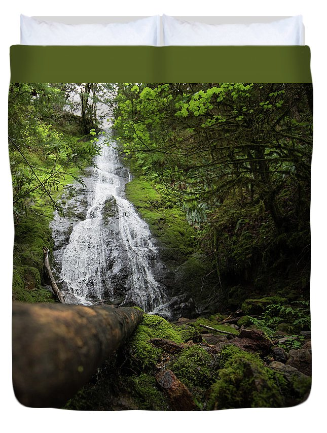 Duvet Cover featuring the photograph Hidden Falls by Jade Woods