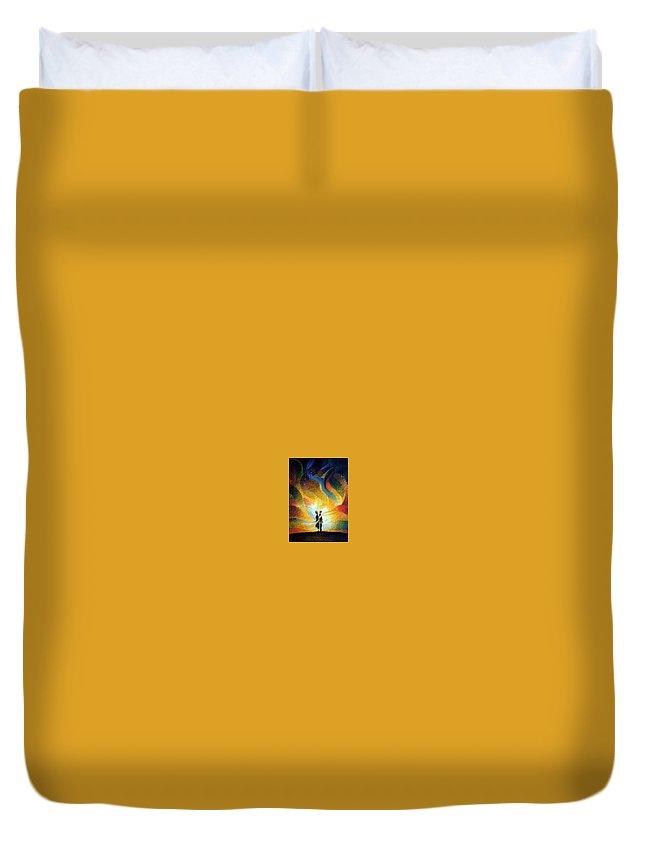Hidden Feelings Duvet Cover featuring the painting Hidden Feelings by Gregor Ziolkowski