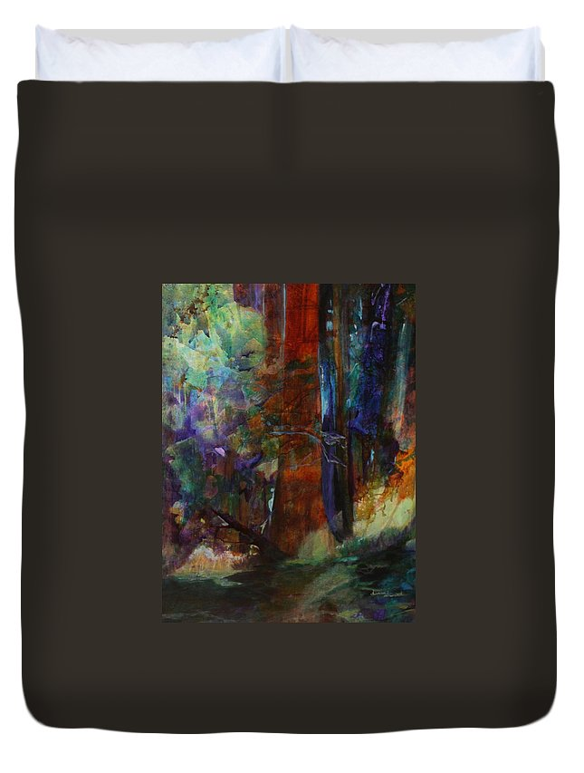 Forest Framed Prints Duvet Cover featuring the painting Hidden Forest by Donna Steward