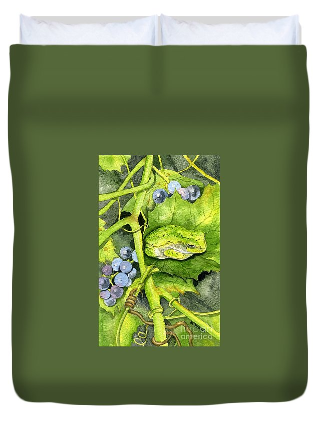 Frog Duvet Cover featuring the painting Hidden IIi by Mary Tuomi