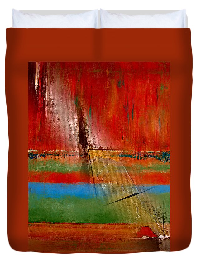 Abstract Duvet Cover featuring the painting Hidden Inside The Lines by Ruth Palmer