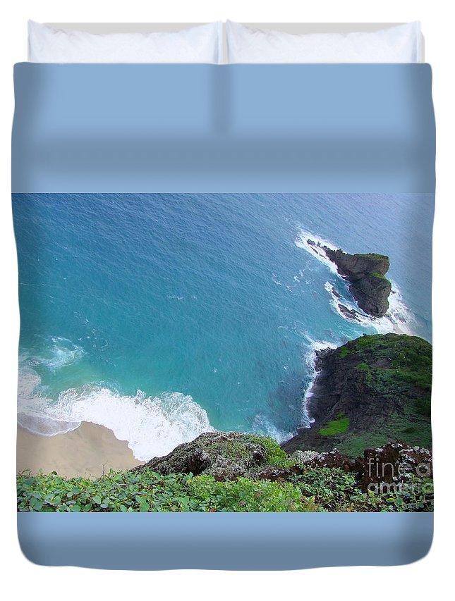 Blue Duvet Cover featuring the photograph Hidden Kilauea Beach by Mary Deal