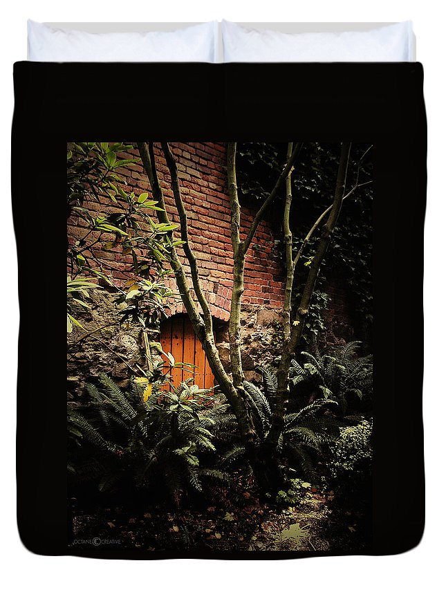 Brick Duvet Cover featuring the photograph Hidden Passage by Tim Nyberg