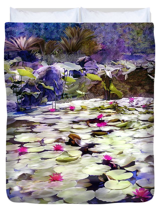 Lotus Duvet Cover featuring the photograph Hidden Pond Lotusland by Kurt Van Wagner