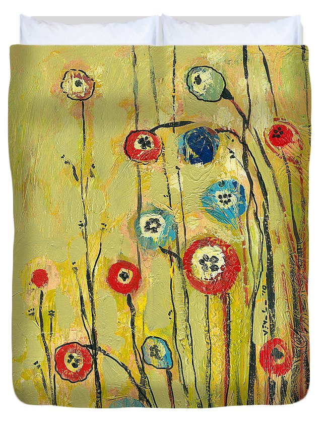 Floral Duvet Cover featuring the painting Hidden Poppies by Jennifer Lommers