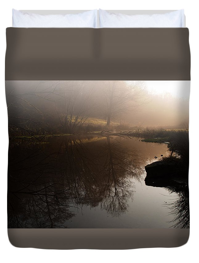 Pond Duvet Cover featuring the photograph Hidden Reflections by Miguel Winterpacht