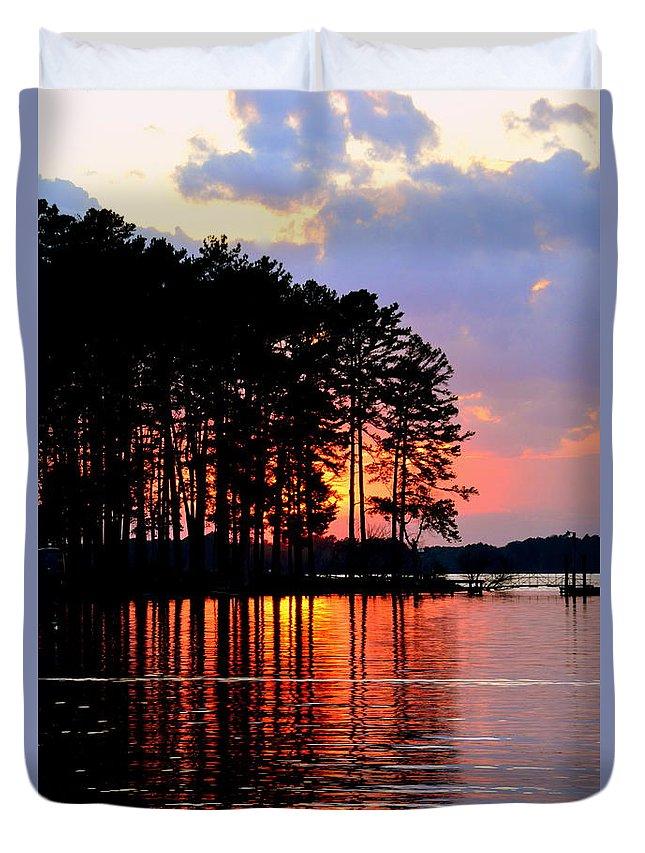 Hidden Sunrise Duvet Cover featuring the photograph Hidden Sunrise by Lisa Wooten