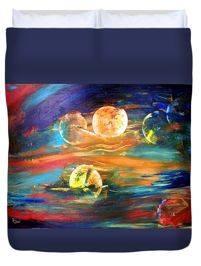 Abstract Duvet Cover featuring the painting Hidden Worlds by Robin Monroe