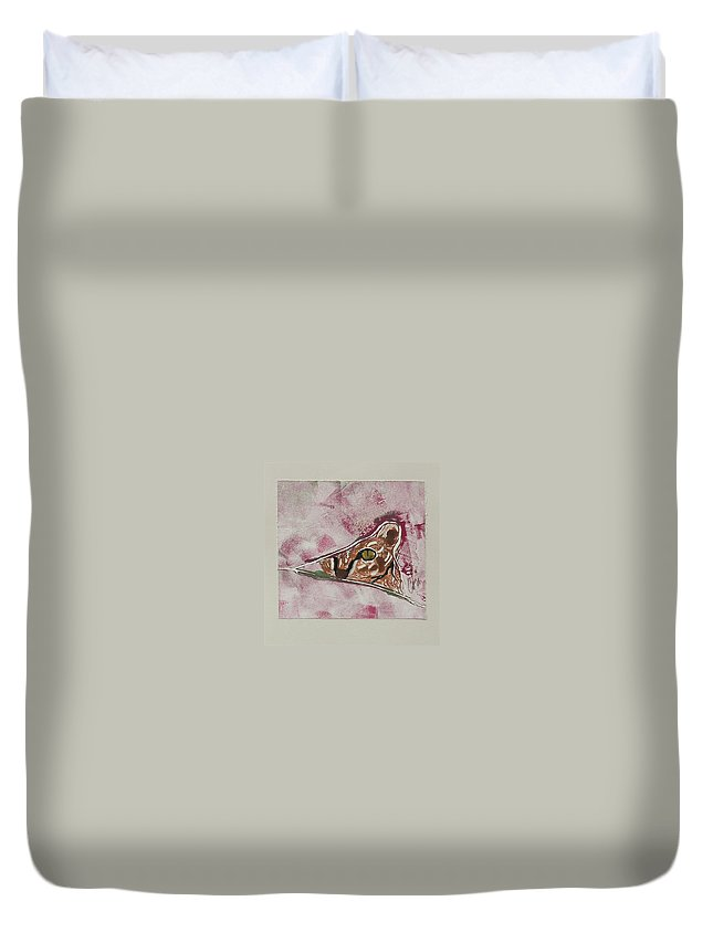 Cat Duvet Cover featuring the mixed media Hide And Seek by Cori Solomon