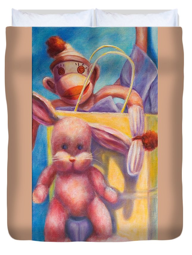 Children Duvet Cover featuring the painting Hide and Seek by Shannon Grissom
