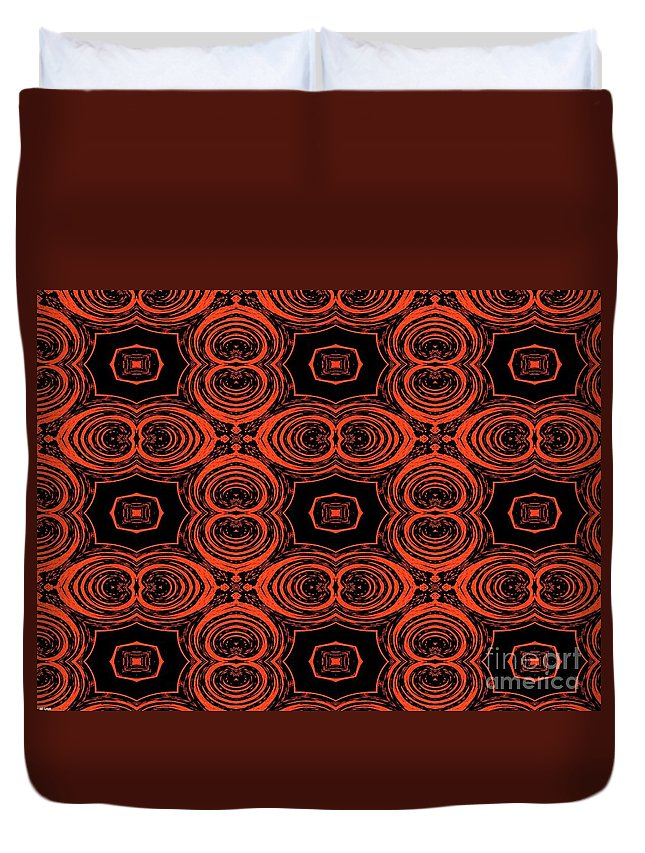 Red Duvet Cover featuring the digital art Hiding Behind A Red Mask by Debra Lynch