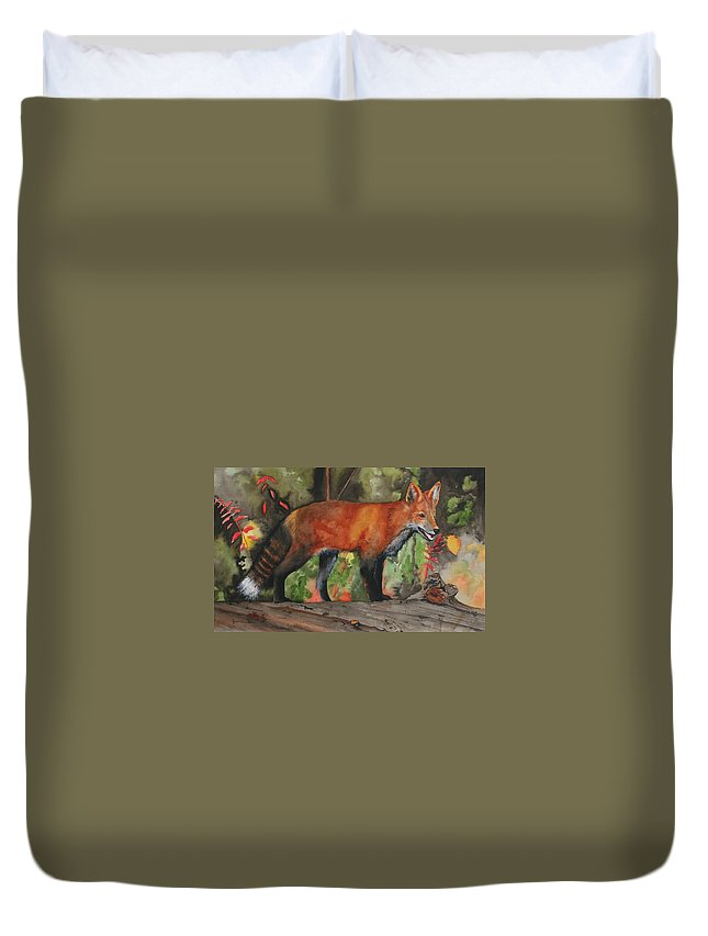 Fox Duvet Cover featuring the painting Hiding In Plain Sight by Jean Blackmer