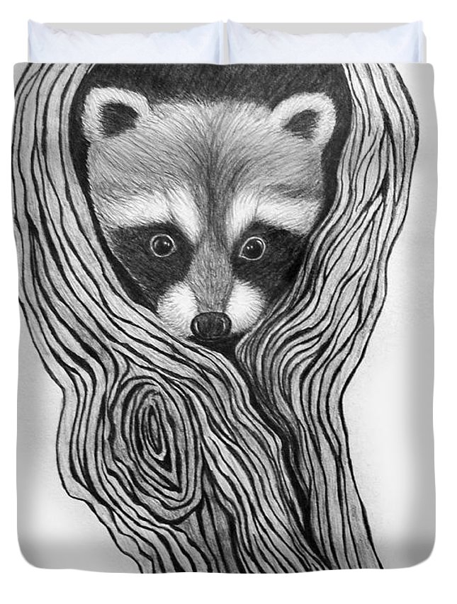 Raccoon Duvet Cover featuring the drawing Hiding Out by Nick Gustafson
