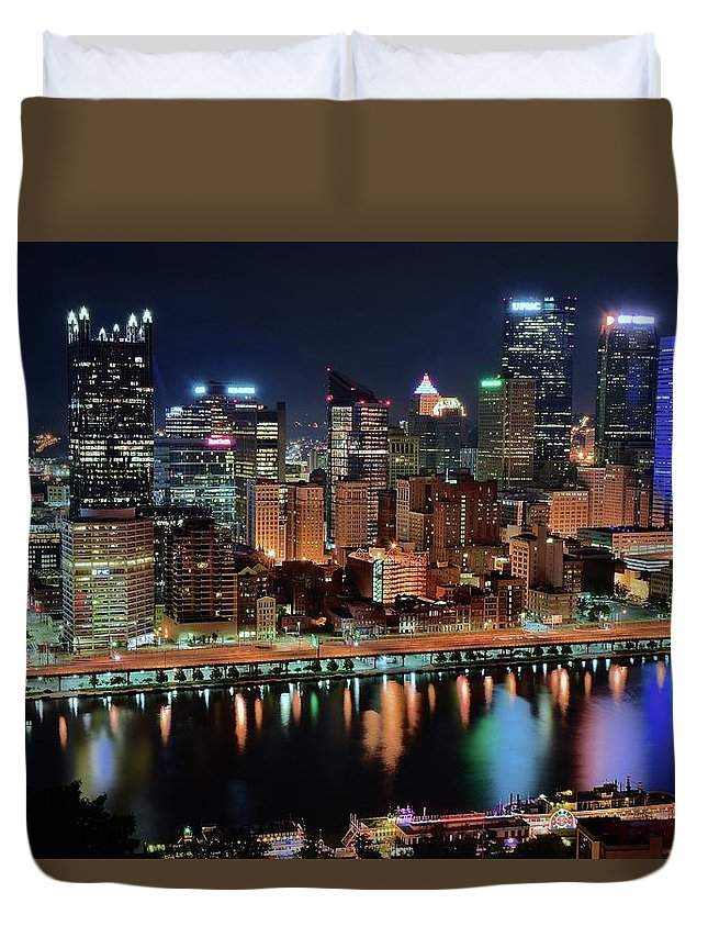 Pittsburgh Duvet Cover featuring the photograph High Above Pittsburgh by Frozen in Time Fine Art Photography