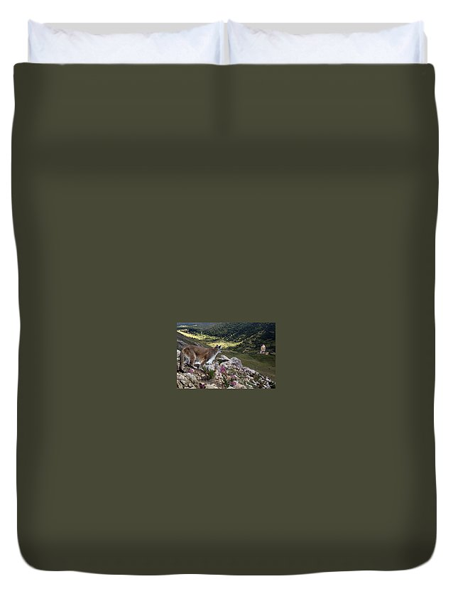 Wildlife Duvet Cover featuring the digital art High And Wild by Bill Stephens
