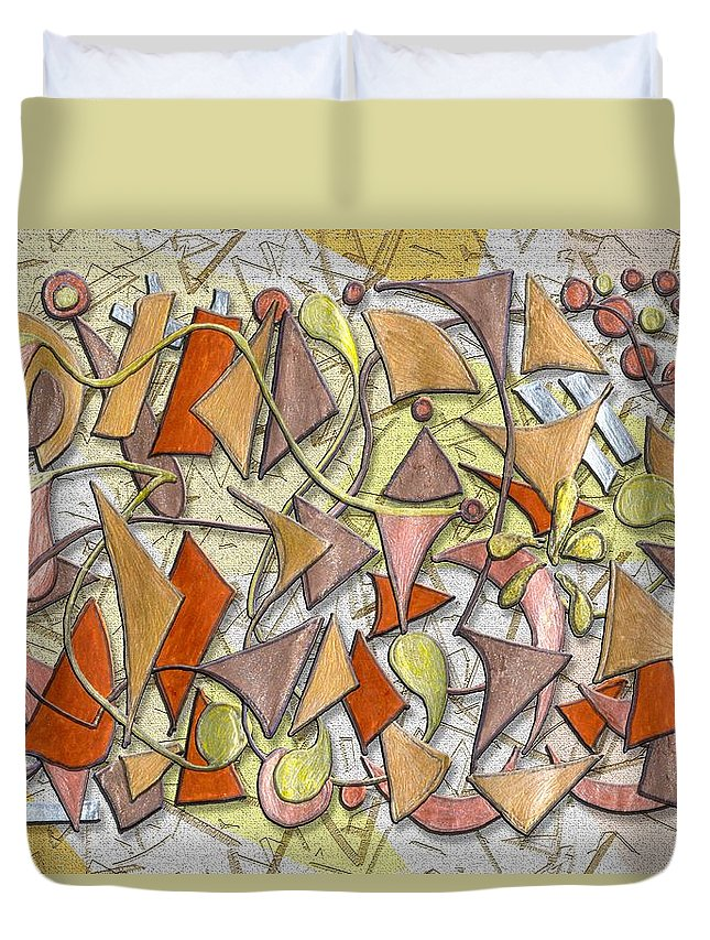 Abstract Autumn Leaf Leaves Shapes Season Fall Drawing Triangle Geometric Duvet Cover featuring the digital art High Autumn by Mark Sellers