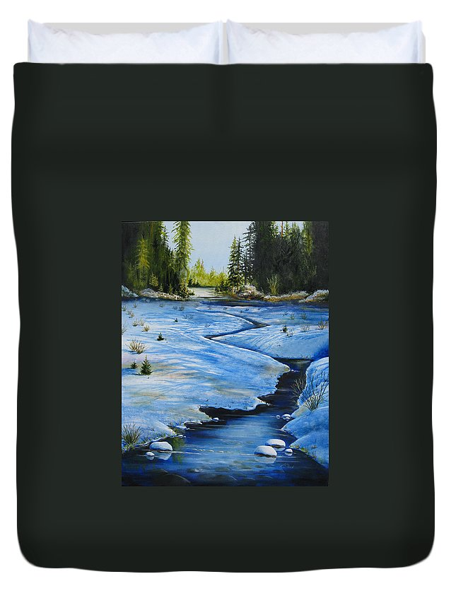Landscape Duvet Cover featuring the painting High Country by Karen Stark