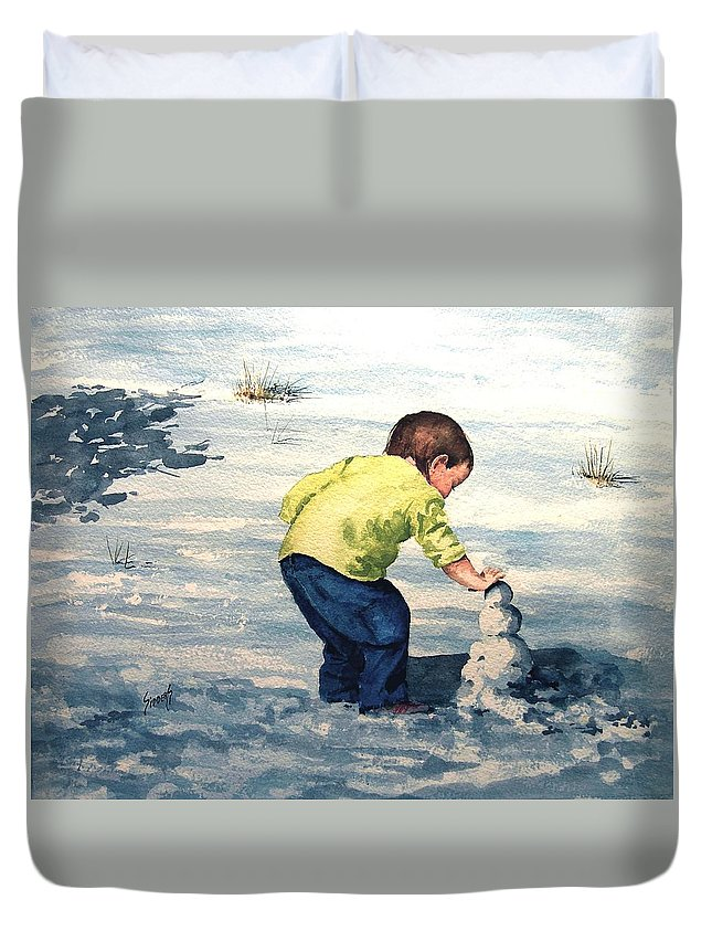 Child Duvet Cover featuring the painting High Country Snow Girl by Sam Sidders