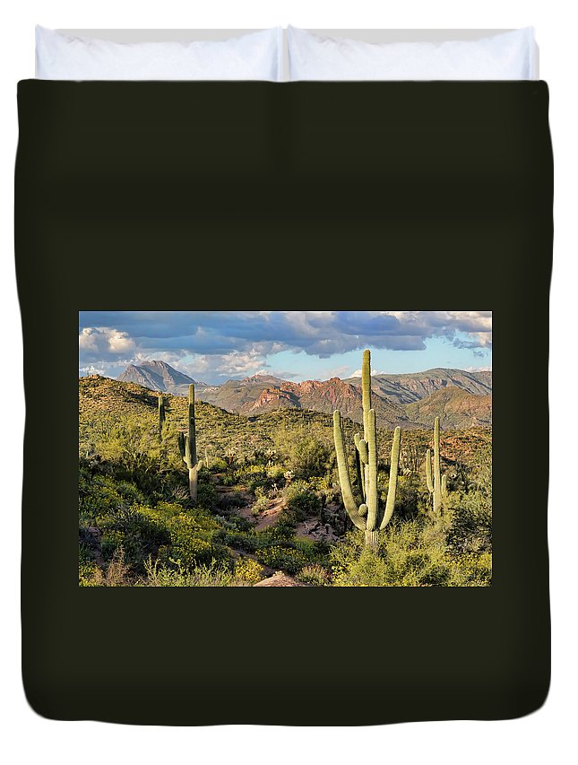 Arizona Duvet Cover featuring the photograph High Desert Peaks by Ryan Seek