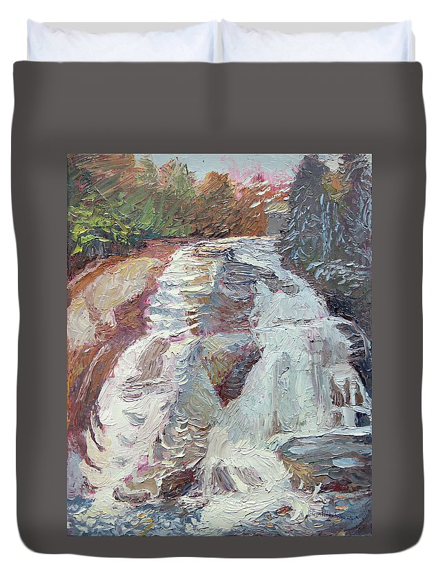 Waterfall Duvet Cover featuring the painting High Falls Dupont Forest by Lisa Blackshear