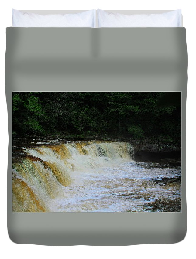 Cheat Duvet Cover featuring the photograph High Falls Of Cheat 13 by Cathy Lindsey
