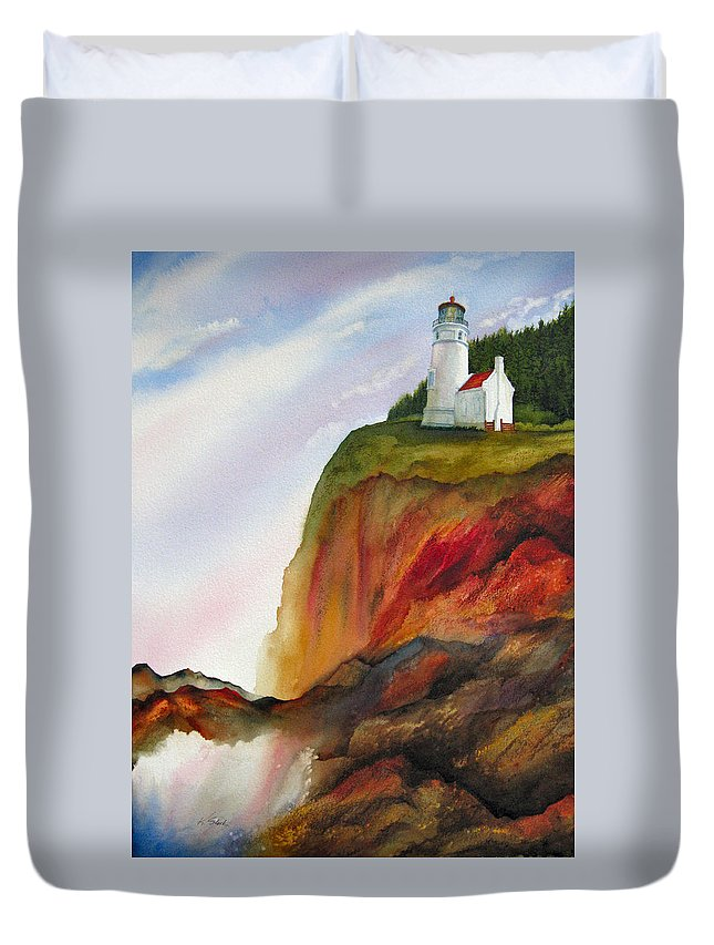 Coastal Duvet Cover featuring the painting High Ground by Karen Stark