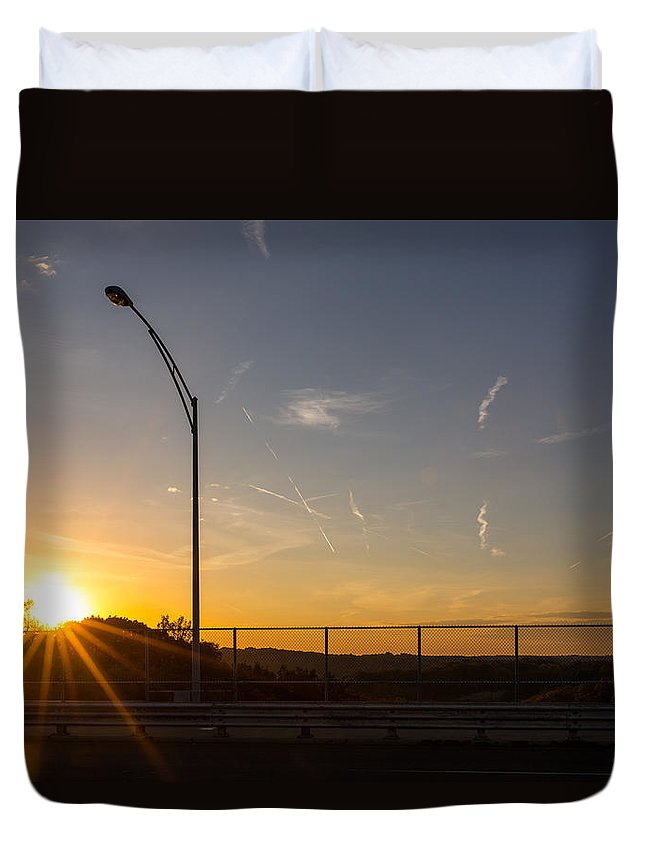 Sunset Duvet Cover featuring the photograph High Level Sunset by Tim Fitzwater