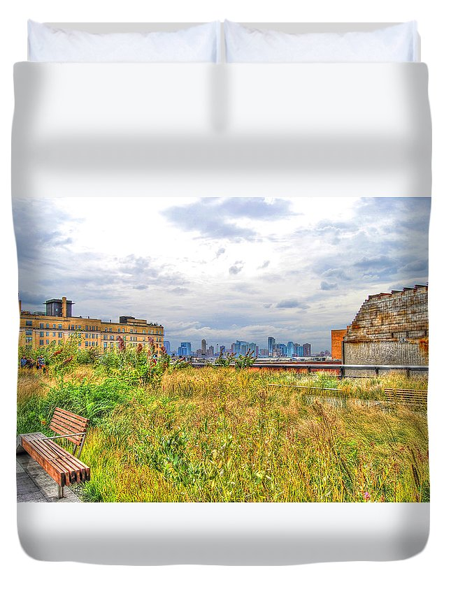 High Line Park Duvet Cover featuring the photograph High Line On The Hudson by Randy Aveille