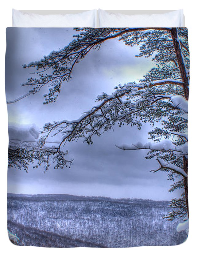 High Duvet Cover featuring the photograph High Mountain Fence by Douglas Barnett
