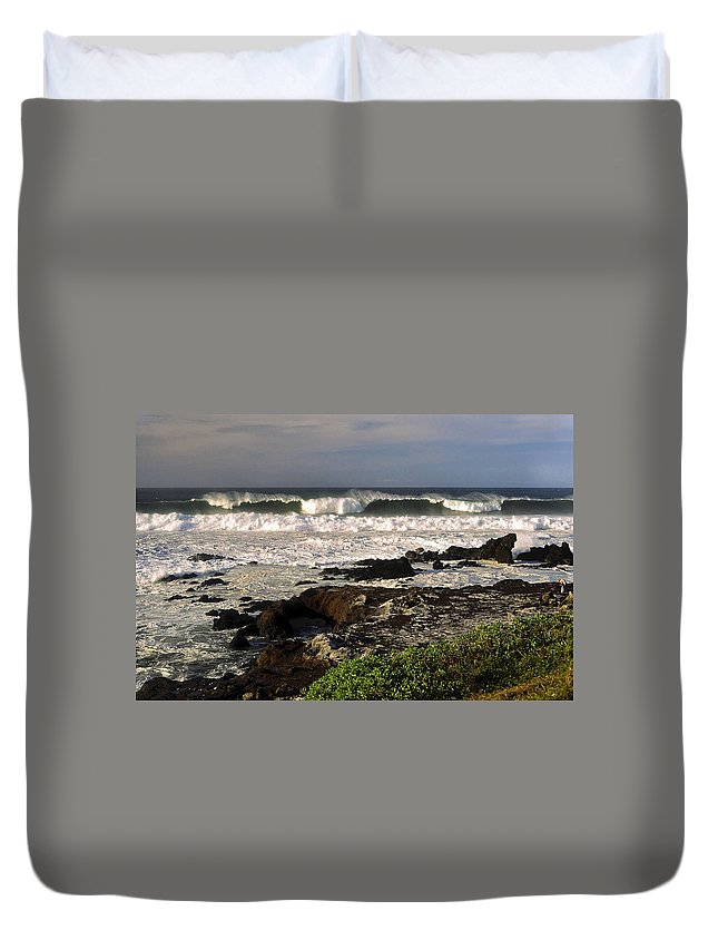 High Ocean Surf Duvet Cover featuring the photograph High Ocean Surf by Sally Weigand