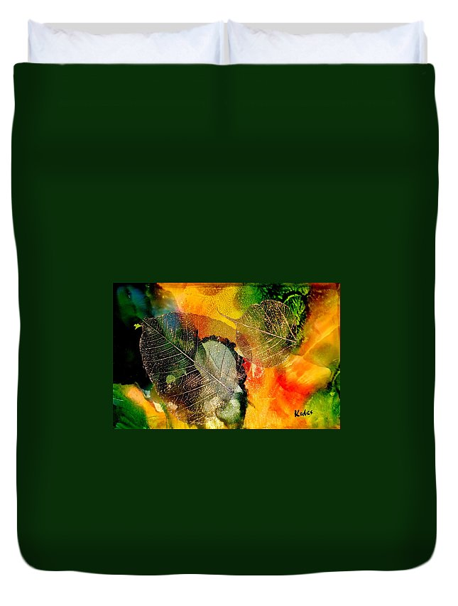 Abstract Duvet Cover featuring the mixed media High on Nature by Susan Kubes