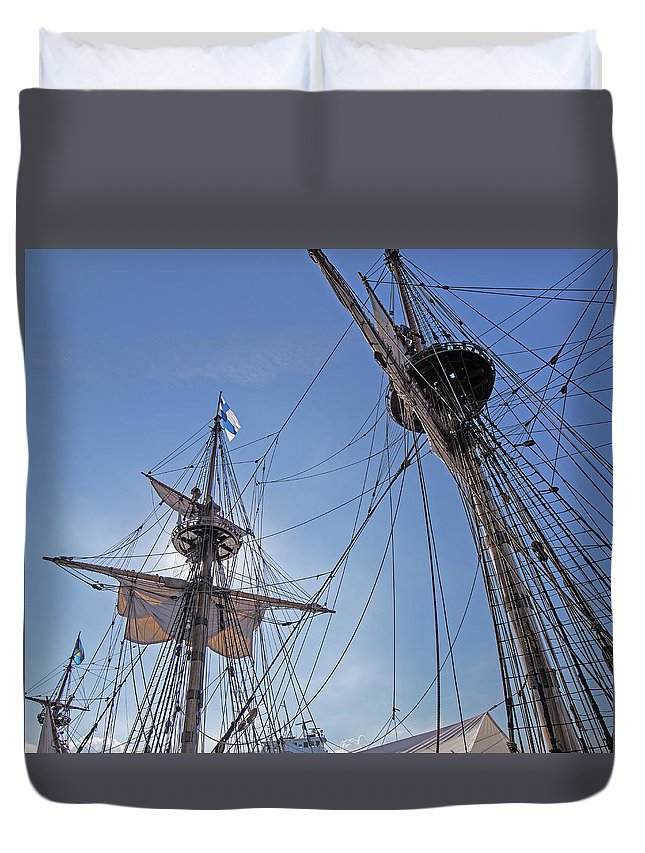 Swedish Duvet Cover featuring the photograph High On The Foremast by Allan Levin