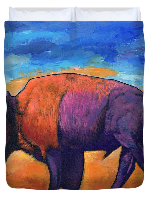 Animals Duvet Cover featuring the painting High Plains Drifter by Johnathan Harris