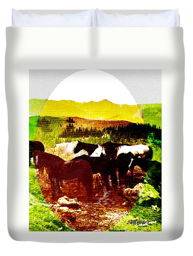 Mustangs Duvet Cover featuring the digital art High Plains Horses by Seth Weaver