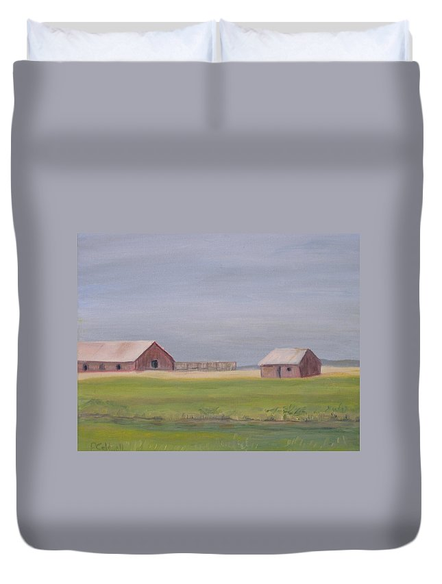 Landscape Plains Barn Duvet Cover featuring the painting High Plains by Patricia Caldwell