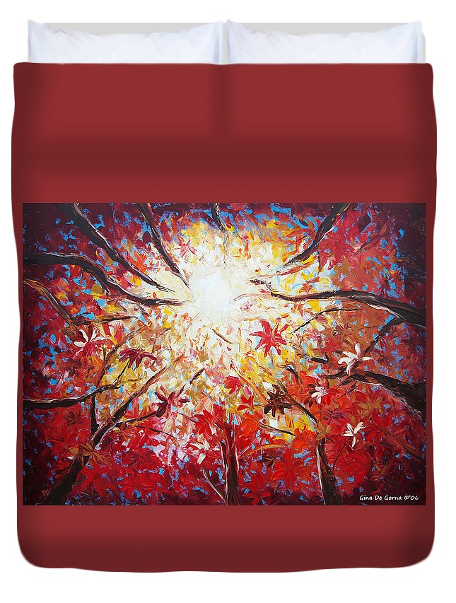 Red Duvet Cover featuring the painting High Red by Gina De Gorna