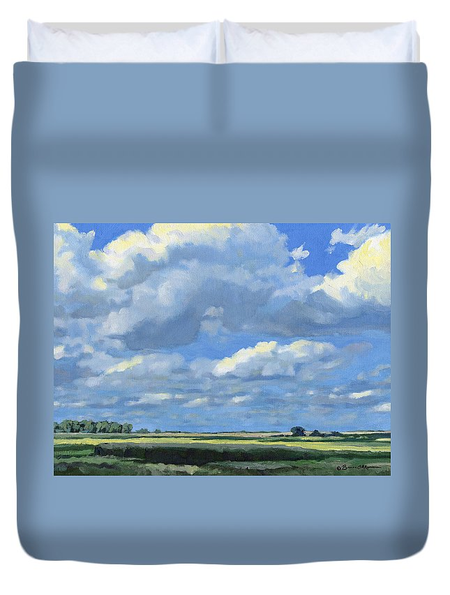 Landscape Duvet Cover featuring the painting High Summer by Bruce Morrison