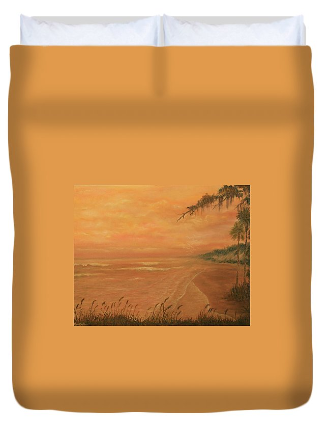 Beach; Ocean; Palm Trees; Water Duvet Cover featuring the painting High Tide by Ben Kiger