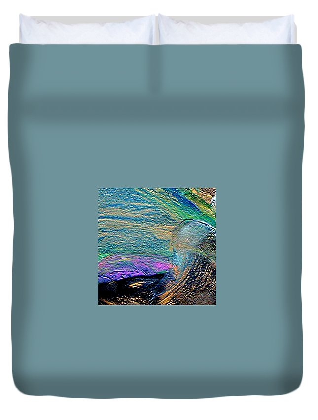 Wave Duvet Cover featuring the painting High Wave by Dragica Micki Fortuna