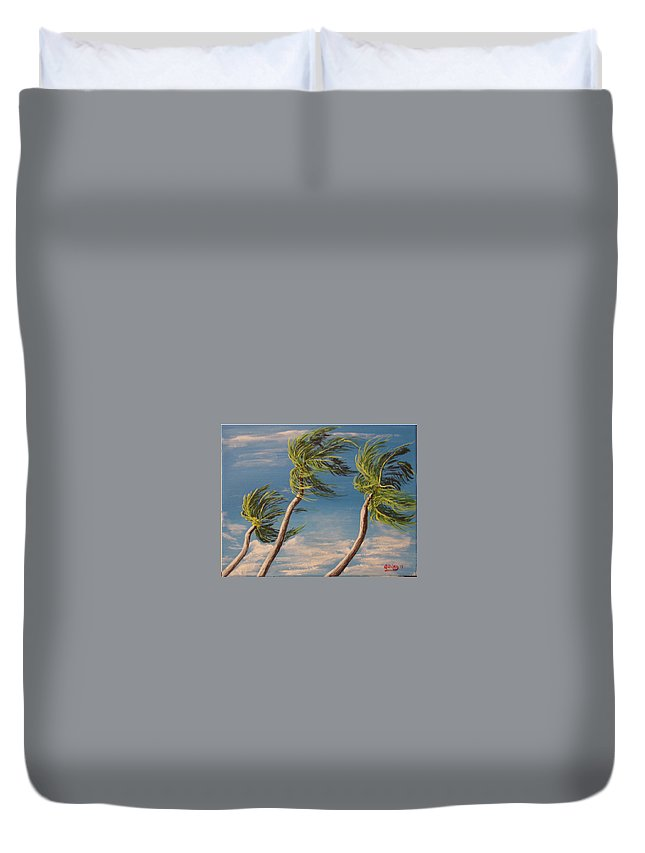 Seascape-storm Duvet Cover featuring the painting High Wind Advisory by David Stanley