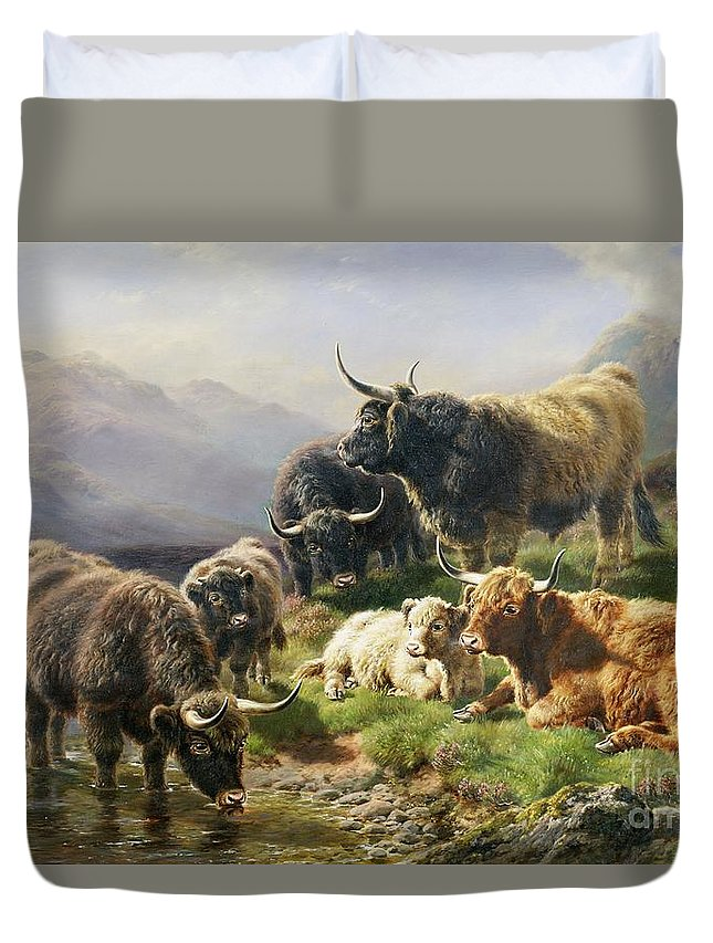 Highland Duvet Cover featuring the painting Highland Cattle by William Watson