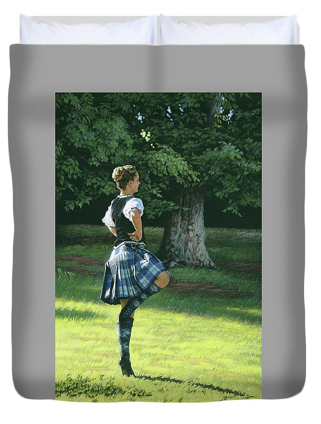 Scottish Duvet Cover featuring the drawing Highland Dancer by Tommy Hunt