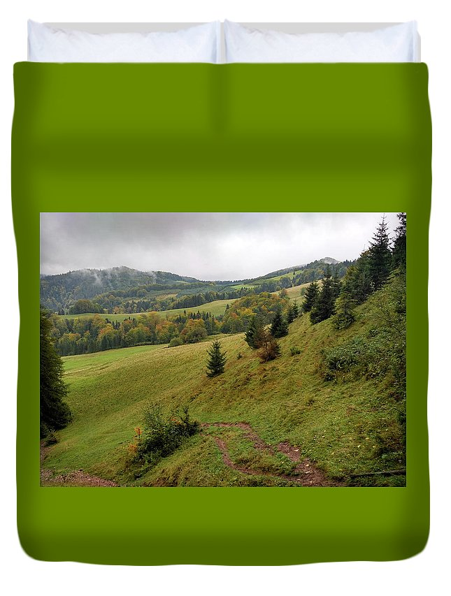 Pieniny Duvet Cover featuring the photograph Highlands Landscape In Pieniny by Arletta Cwalina