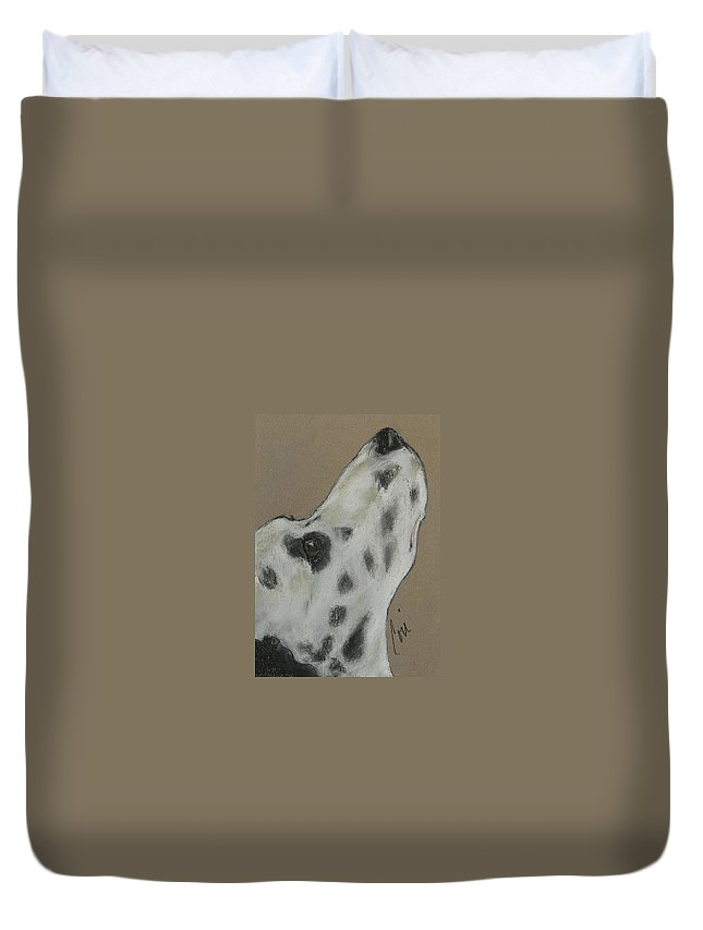 Dalmatian Duvet Cover featuring the drawing Highly Motivated by Cori Solomon