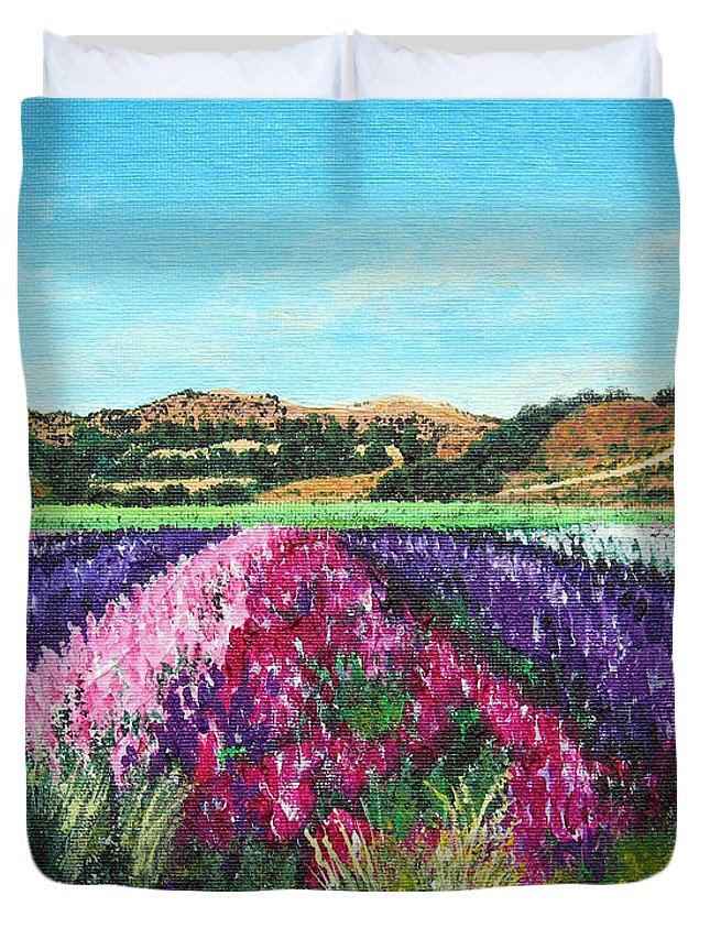 Highway 246 Duvet Cover featuring the painting Highway 246 Flowers 3 by Angie Hamlin