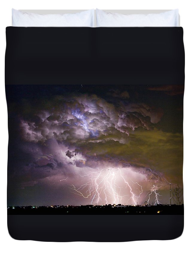 Colorado Lightning Duvet Cover featuring the photograph Highway 52 Storm Cell - Two And Half Minutes Lightning Strikes by James BO Insogna